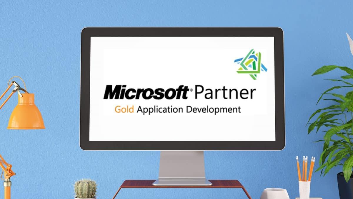 Microsoft Partner Gold Application Development Logo on Computer