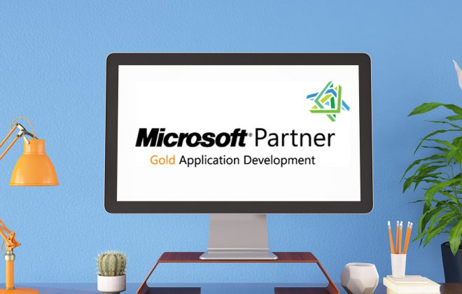 Microsoft Partner Gold Application Development Logo on Computer