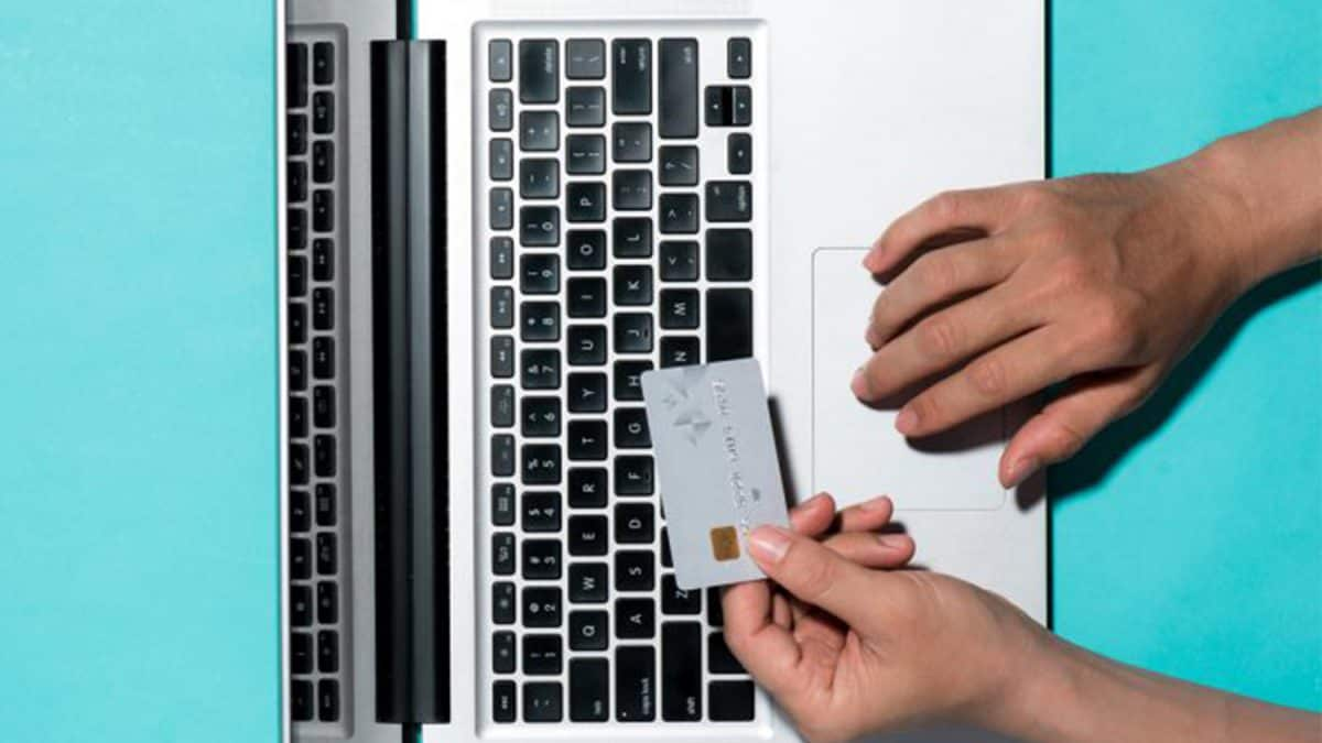 keyboard typing with credit card