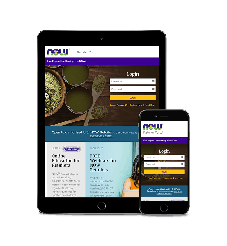 NOW Foods Retailers Website on tablet and mobile