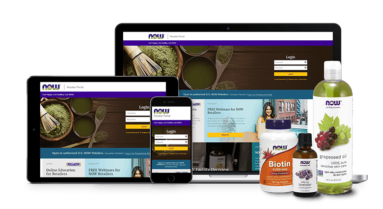 NOW Foods Retail Website on Computer