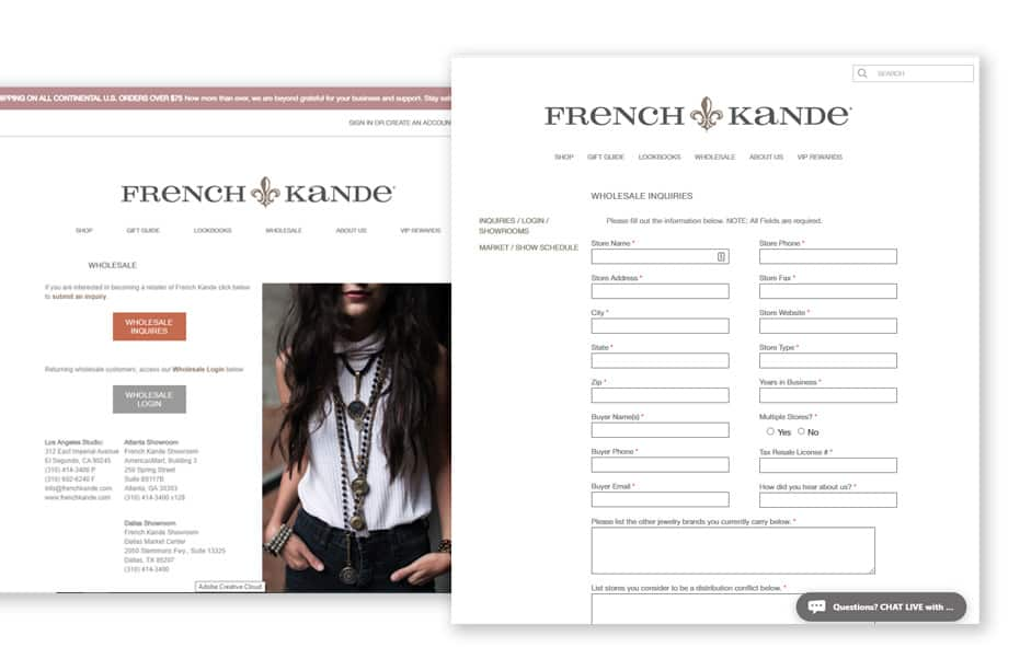 French Kande's Wholesale Website