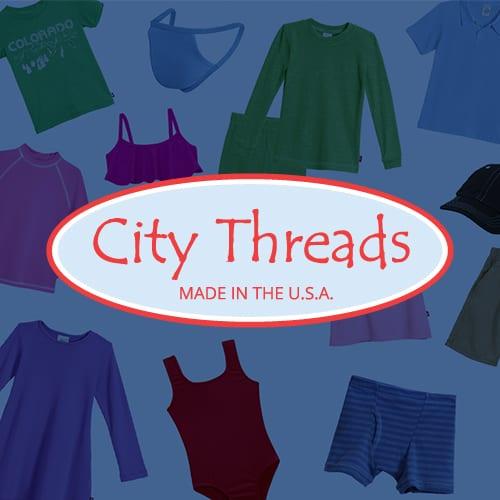 City Threads logo on an collage of clothing