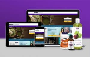 NOW Foods Wholesale Website mocked up on computer, tablet, and phone
