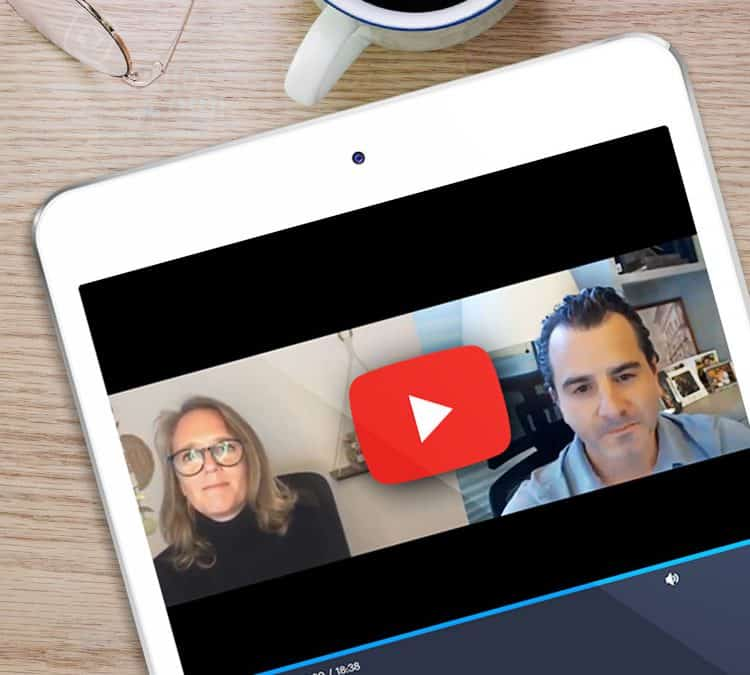 Dan Levin and Danielle Dolloff of Liventus speak to each other on a video webinar series.