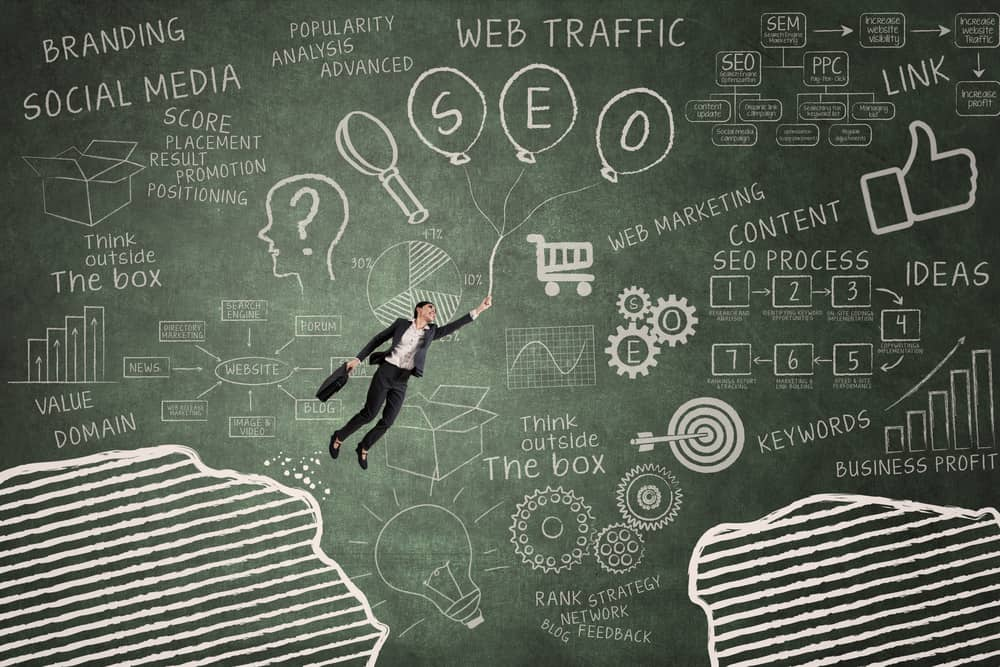 SEO concept- Businesswoman,Flying,With,Balloon,In,Classroom,Through,Gap,On,The